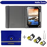 """Hello Zone With Free Sim Adapter Kit I Kall K1 Tablet 360° Rotating 7"""" Inch Flip Case Cover Book Cover -Blue"""