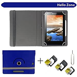 "Hello Zone With Free Sim Adapter Kit Videocon VA72 360° Rotating 7"" Inch Flip Case Cover Book Cover -Blue"