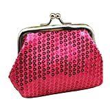 Bobopai Womens Girls Mini Sequins Buckle Coin Purse Small Clutch Wallet (Rose-Red)