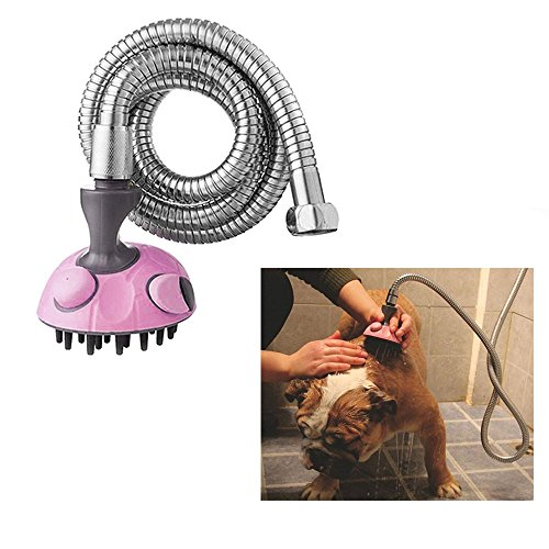 Pet Bath Sprayer by Rechel, Multifunctional Dog & Cat Shower Massager Shampoo Handheld Sprayer Brush Grooming Toll with Stainless Steel Hose for Both Indoor & Outdoor Use (Pink)