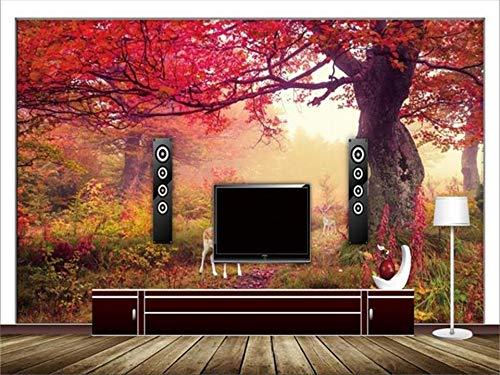 Abihua Wandbilder Benutzerdefinierte Größe Tapete 3D Foto Tapete Wohnzimmer Wandbild Rote Wälder Fawn 3D-Malerei Sofa Tv Hintergrundbild Für Die Wand 3D 220Cm X 140Cm - Boot-fawn