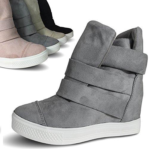 ebd6663c91ca61 ... Damen Sneakers Keilabsatz Wedge High Heels High Top Turnschuhe  Stiefeletten Boots ST75 Beige