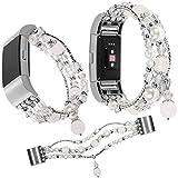 Qianyou Pour Fitbit Charge 2Bracelet Perles, Crystal Pearl stretch élastique Bracelet de sport Fitness Watch Band pour Fitbit Charge 2femmes filles, Weiß
