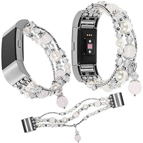 Für Fitbit Charge 2 Armband Perlen, Qianyou Luxury Perle Naturstein Elastische Stretch Armband Ersatz Armbänder Sport Fitness Uhrenarmband für Fitbit Charge 2 Frauen Mädchen,Weiß