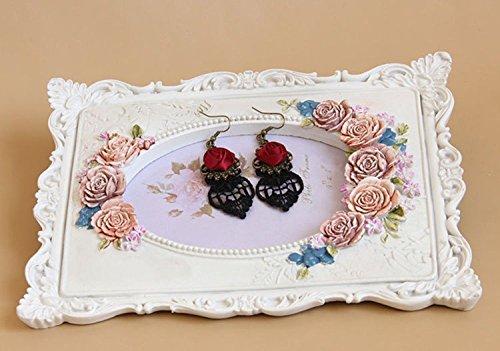 Yazilind Retro Style Lace Baumeln Rote Rose Blume Ohrring Stilvolle Schmuck Für Frauen Geschenkidee - 6