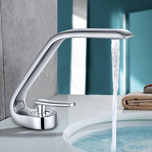 BONADE® Curved Waschbecken Wasserhahn Mischbatterie EinhebelmischerArmatur Bleifreier Waschtischarmatur für Badzimmer