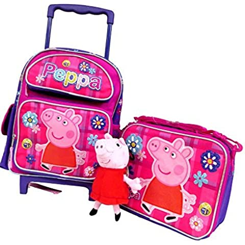Peppa Pig Preschool Medium 12 Rolling Backpack Roller Book Bag, Lunch Box & 7 Clip On Plush Doll by