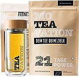 MOTEAVATION | Tee Bundle - Bio Kräuterteemischung (2 x 18 Tage) + doppelwandige Teeflasche | Teebereiter | Thermo Bottle mit 2-in-1 Teesieb & Bambusdeckel + Gymsack + Jüttebeutel