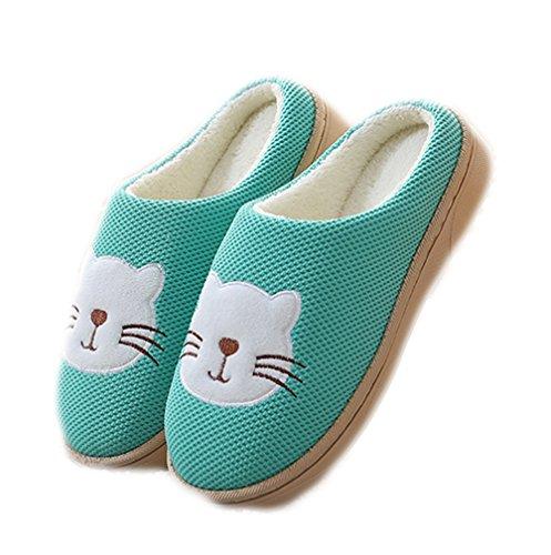 en Vert imprimées confortables par chat Chaussures peluche doublées molletonnées Chaussures Auspicious beginning unisexe mignonnes vqxwCOp