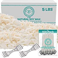Hearts and Crafts Soy Wax and DIY Candle Making Supplies | 5lb Bag with 100 6-Inch Pre-Waxed Wicks, 2 Centering Devices