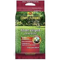 Compo FLORANID Abono de césped con herbicida, Larga duración de hasta 3 Meses, Granulado Fino, 7,5 kg, 250 m², 7.5 kg