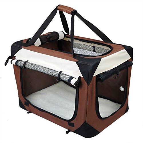 EUGAD Hundebox Faltbar Hundetransportbox Auto Transportbox Reisebox Katzenbox Box mit Hundedecke Oxford Braun 0153HT