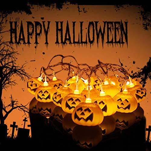 FORH LED Batterie Laterne String Dekoration Schlafzimmer Dekoration Geisterfest Kürbis Club Party Feier SM-Pumpkin Light für Halloween Party,Garten (Gelb)