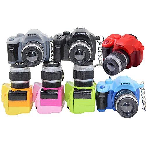 vientiane Llavero de la Cámara,7 colores Mini Linterna con luz LED y Llavero de Sonido del Obturador,Llavero Decorativo de la Cámara de Fotos (5 mm)