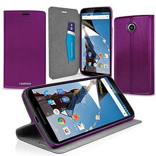 CaseBase Premium Ultra-Slim Folio Tasche LILA für 2014 Google Nexus 6 / Motorola Nexus 6 & integrierter Standfunktion und Staufächer