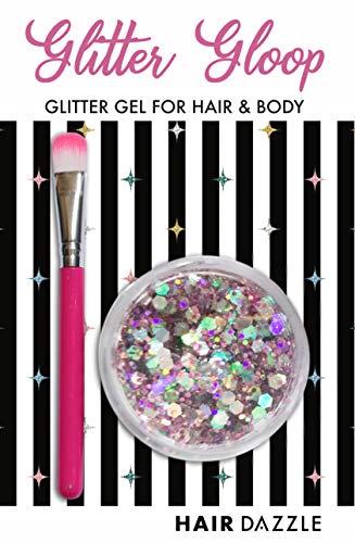 (Haar & Körper Glitzer Gel, ROSA EINHORN' GLITTER GLOOP - Halloween-Kostüm, Haar, Gesicht, Körper Glitzer)