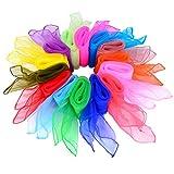 Shappy 28 Stück Tanz Tücher Square Jongliertücher Magic Schals, 14 Farben, 24 x 24 Zoll