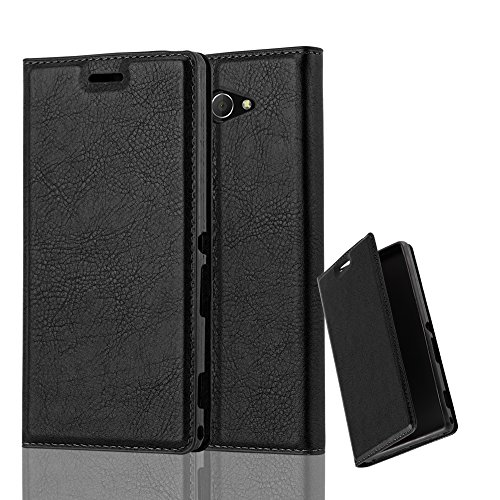 Cadorabo Hülle für Sony Xperia M2 Aqua - Hülle in Nacht SCHWARZ - Handyhülle mit Magnetverschluss, Standfunktion & Kartenfach - Case Cover Schutzhülle Etui Tasche Book Klapp Style
