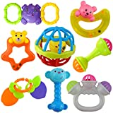 Wishkey Colourful Non Toxic Set of 8 Teether and Rattle for New Borns & Infants