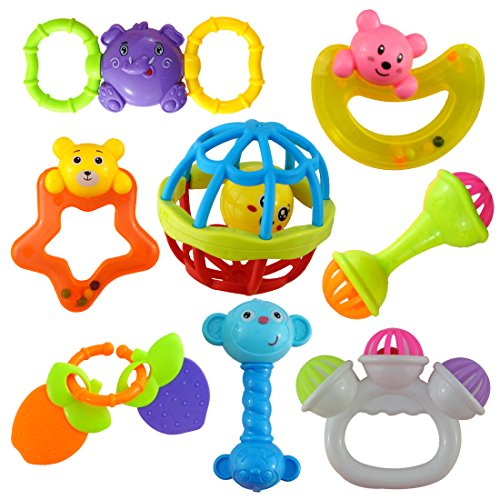 Wish key New Born and Infants Non Toxic Plastic Colourful Teether and Rattle (Multicolour, Rattle_HMC-2029) - Set of 8