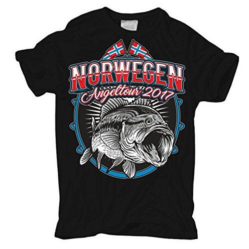 Männer und Herren T-Shirt Norwegen Angeltour 2017 Körperbetont schwarz