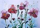 Kunstdruck Gartenblumen 29,5 x 21 Malerei Aquarell Kunst Blumen Klee Lavendel Geschenk