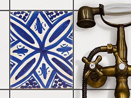 Küche Bad Fliesenaufkleber Folie Sticker | Deko-Fliesen Küchen-Fliesen Bordüre Küchendeko | 20x25 cm Muster Ornament Spanish Tile 7 - 1...