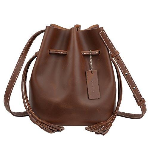 YALUXE - Bolso de Mano Interior extraíble con cordón para Mujer (Piel), Color marrón