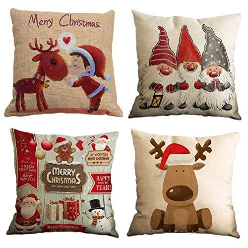 Gspirit 4 Stück Kissenbezug Frohe Weihnachten Dekorative Kissenhülle Elk Schneemann Weihnachtsmann Muster Baumwolle Leinen Werfen Sie Kissenbezüge 45x45 cm