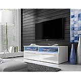 Siena - TV Lowboard / TV-Schrank (100 cm, Weiß Matt / Weiß Hochglanz, mit Blauer LED - Beleuchtung)
