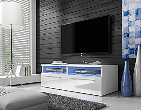 Siena - Meuble TV (100 cm, Blanc mat / Fronts Blanc Brillant avec LED Bleue)