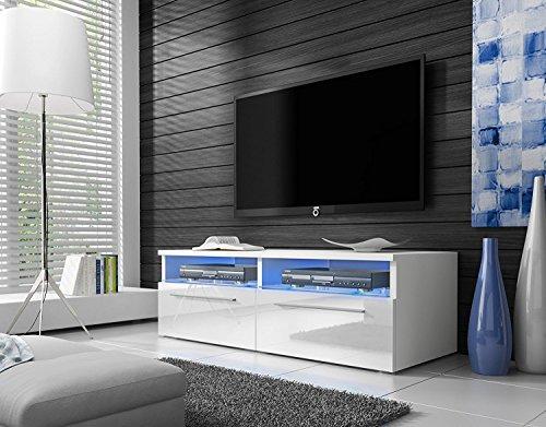 Siena - Meuble TV (100 cm, Blanc mat / Fronts Blanc Brillant avec LED Bleue)