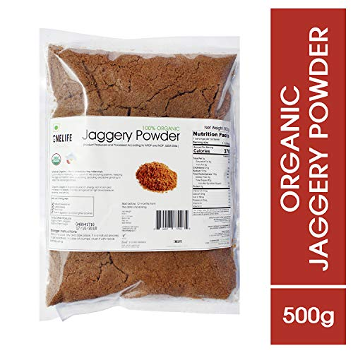 One Life Organic Certified Sugarcane Jaggery Powder, 500 g -2 Packs