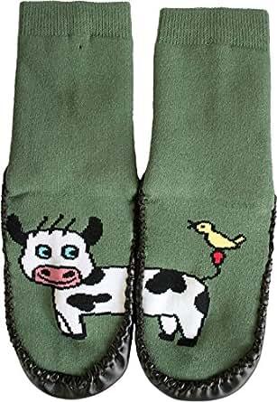 1 Paar Hüttenschuh Söckchen mit lustigen Tiermotiven, echte Rindsledersohle | 5 Motive zur Auswahl Farbe Kuh Größe 20-21
