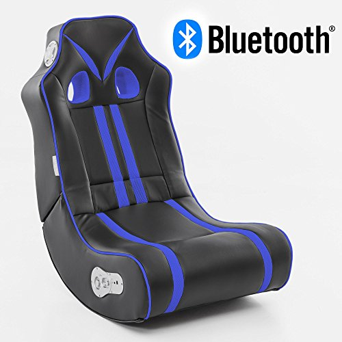 Wohnling Soundchair Ninja in Schwarz Blau mit Bluetooth | Musiksessel mit eingebauten Lautsprechern...