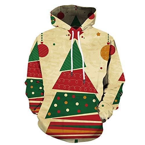 Herren Sweatshirt Top Herbst Langarm Plaid Hoodie Mit Kapuze T-Shirt OutwearWeihnachtspullover mit 3D-Print WY-1438 M