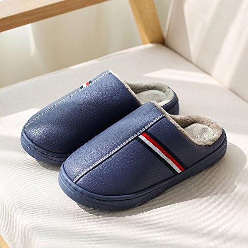 DogHaccd pantofole,Autunno Inverno piscina home spessa, antiscivolo per gli uomini e le donne del cotone pantofole coppie incantevole casa soggiorno caldo pantofole in pelle Blu scuro2