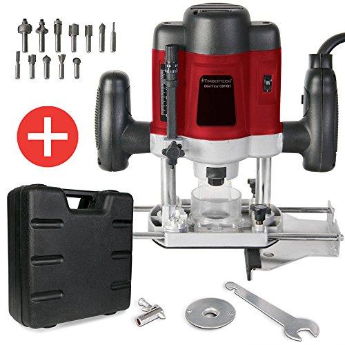 Oberfräse Fräsmaschine 1200W inklusive Fräser- & und Werkzeugset und Koffer TÜV-Rheinland GS geprüft