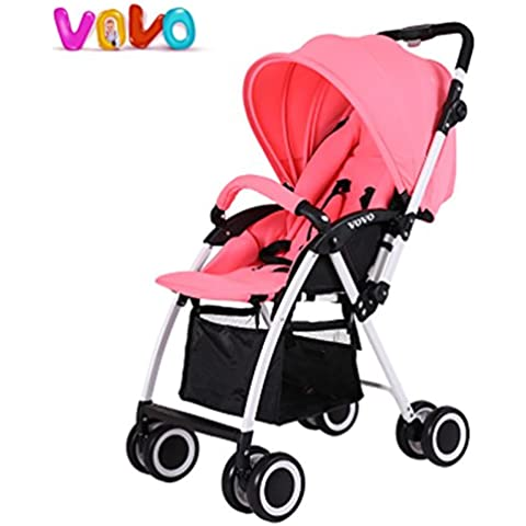 Lightweight Folding Baby Strollers, Portable Baby Buggy, Fashion Baby Pram, Aluminum Alloy Two-way Pushchair - Pink Umbrella Passeggino