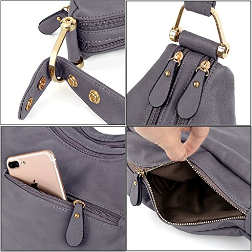 UTO Damen Handtasche PU Leder Purse Hobo Stil Schultertasche braun Tan grau