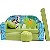 Preisvergleich für PRO COSMO Z16Kids Schlafsofa mit Puff/Fußbank/Kissen, Stoff, Grün, 168x 98x 60cm