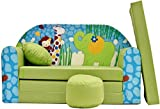 Pro Cosmo Z16 Kids Sofa Bed Futon with Pouffe/Footstool/Pillow, Fabric, Green, 168 x 98 x 60 cm, cotton