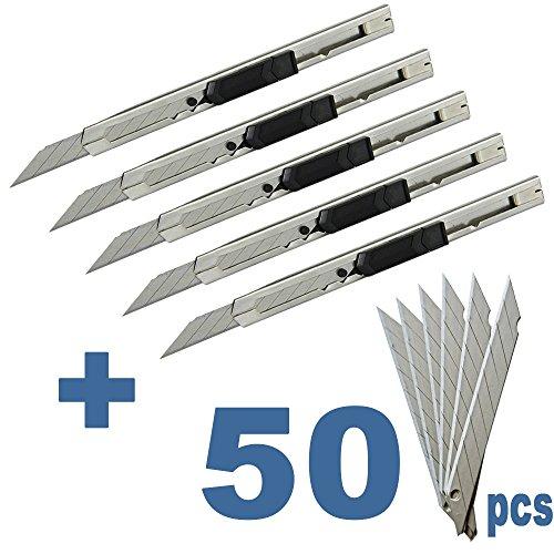 Ehdis Light Duty 9mm Snap Off 30 Grad Klingen Slim Edelstahl Hülle abschließbar Box Cutters Graphic Messer mit Blade Snapper Hinzugefügt 10 Blades, 5 Set