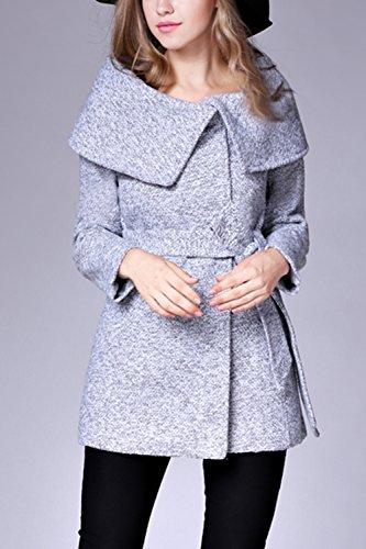 Le Donne Si Oversize Collare Pulsante Caldo Breve Impermeabile Indumenti Esterni Grey