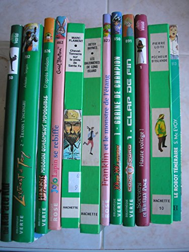 lot 12 livres bibliotheque verte / rose : le robot téméraire - pecheur d'islande - les sorciers de waverly place haute voltige - code lyoko clap de fin - duel masters graine de champion - franklin et le monstre de l'étang - les baleinieres de long island - cheval tonnerre sur la piste de santa fé - jojo lapin se rebiffe - lanfeust de troy T2 thanos l'incongru - kid paddle mission quasiment impossible - the karaté kid le roman du film par robert mark kamen - midam - enid blyton - marc flament - betsy haynes - tania palumbo - paulette bourgeois - seth Mc evoy - pierre loti - disney - arleston - francois hacker (Poche)