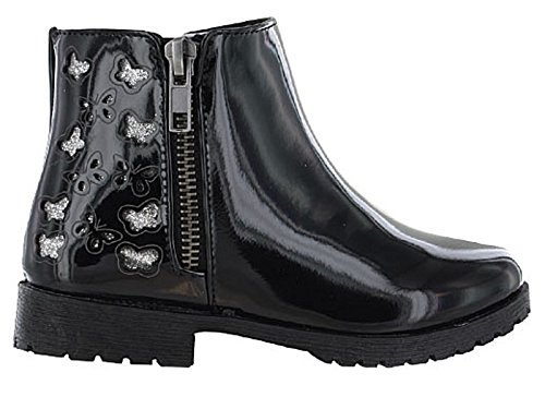 Foster Footwear Mädchen Biker Boots, Schwarz - Black/Butterfly - Größe: 27 EU Kind (Boot Mädchen)
