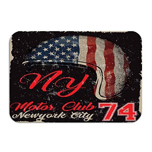 NDJHEH Outside Shoe Non-Slip Color Dot Doormat Motorcycle Helmet American Flag Graphic t Shir Fashion Style Mats Entrance Rugs Carpet 16 * 24 inch -