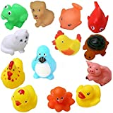 KISMIS Bath Toys Non-Toxic Animal Shape Soft Toys For Baby Kids Bath Toys Chu Chu 15 Piece Set, Multi Color (12 PC SET)