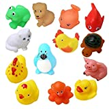 KISMIS MAGNIFICO Non-Toxic Animal Shape Soft Chu-Chu Toys for Baby Kids Bath (Multicolour) - Set of 15