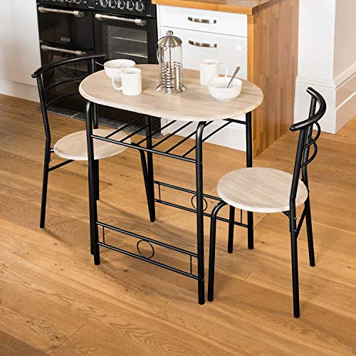 Christow 3 Piece Dining Set Breakfast Bar Kitchen Table Chairs Furniture